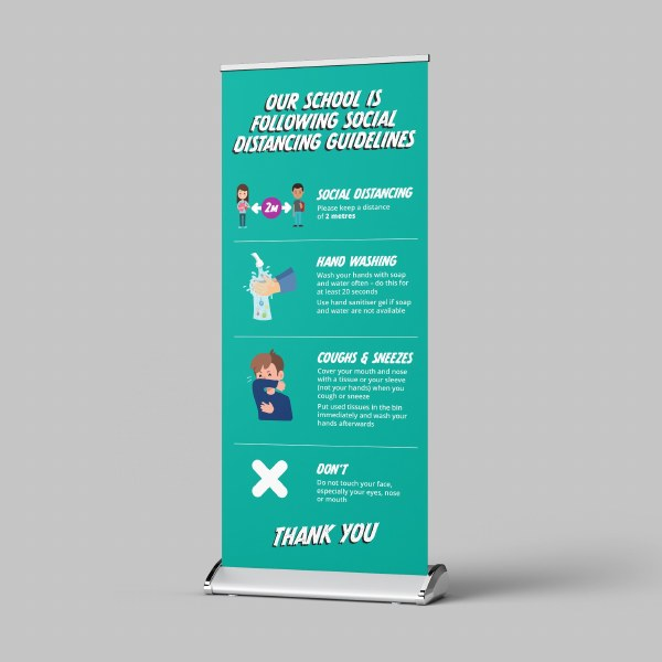 Social Distancing Pull Up Banner for School or Nursery