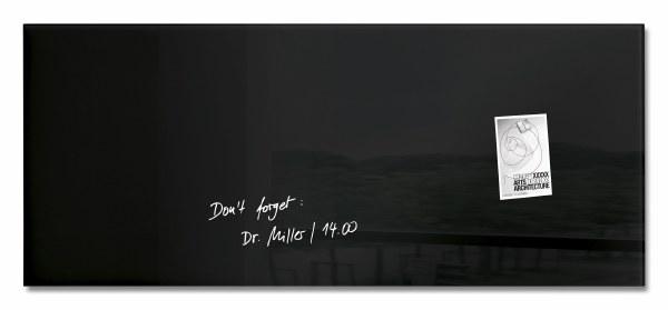 'Artverum' Magnetic Glass Noticeboard 130 x 55cm BLACK