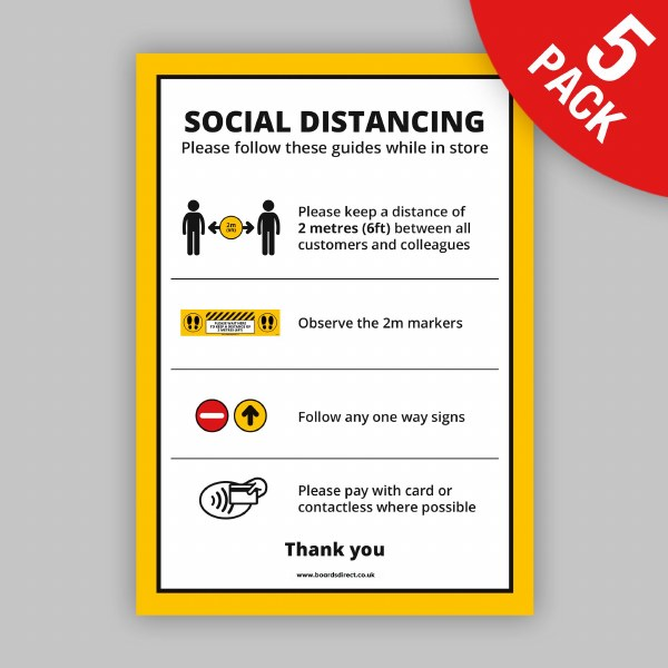 Social Distancing Poster A2, Packs for Retail