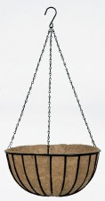 Hanging Basket Black/Liner 12""