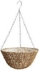 """Hanging Basket, Woven Rope 14"""""""