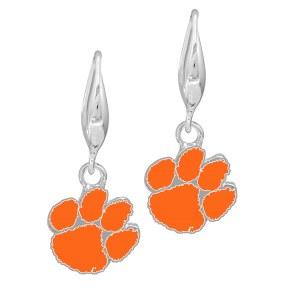 Clemson Tigers Paw Hoop Dangling Earrings