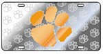 Clemson Tigers Orange Paw on Silver Plate