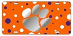 Clemson Tigers Silver Paw on Orange Dots Plate