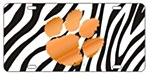 Clemson Tigers Orange Paw on Zebra Plate