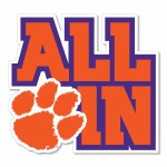 """Clemson Tigers 3"""" ALL IN Vinyl Decal"""