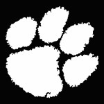 "Clemson Tigers 3"" White Paw Vinyl Decal"