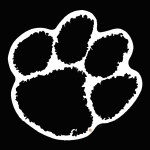 """Clemson Tigers 3"""" Paw Outline Vinyl Decal"""