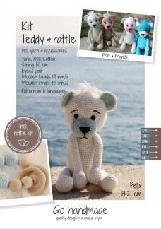 Crochet Kit Teddy & Rattle W/B