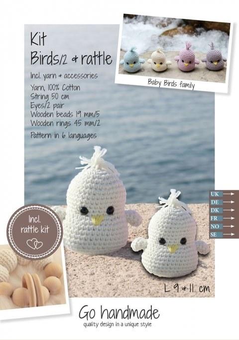 Crochet Kit Baby Birds White