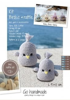Crochet Kit Baby Birds Grey