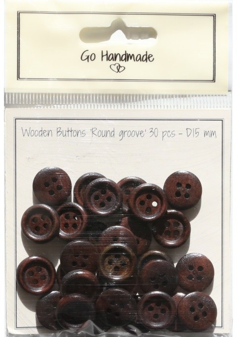 Button - GH Wood brown 15mm