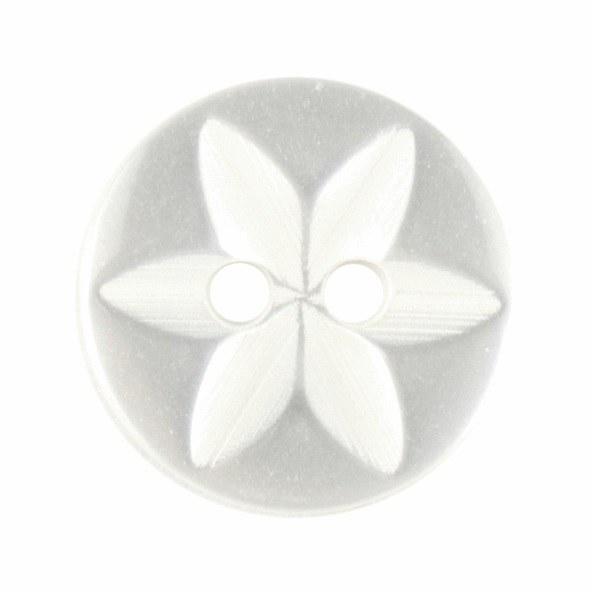 Button Star Round 14mm White