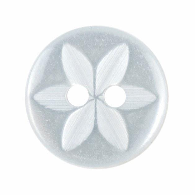 Button Star Round 14mm Lt Blue