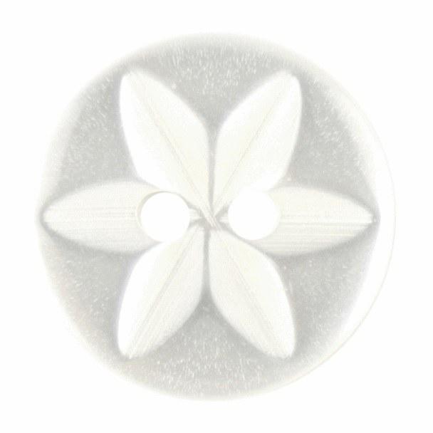 Button Round Star 16mm White