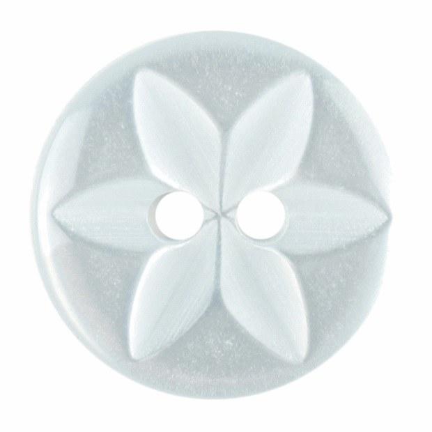 Button Round Star 16mm Lt Blue