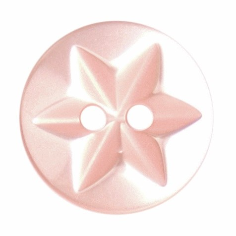 Button Star Design 15mm D Pink