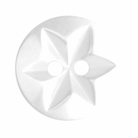 Button Star Design 15mm White