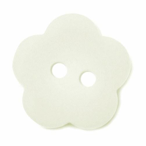 Button Flower 15mm White