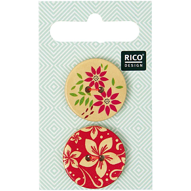 Rico Buttons 2-pack 25mm Flora