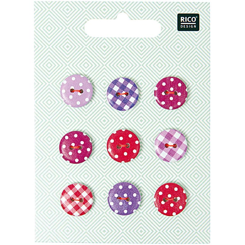 Rico Buttons 9-pack 14mm Pnk/V