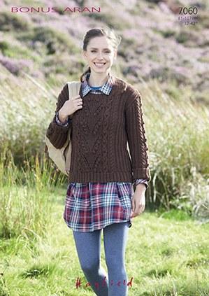 Hayfield 7060 Aran Sweater
