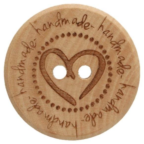 """Button Wooden """"Handmade"""" 20mm"""