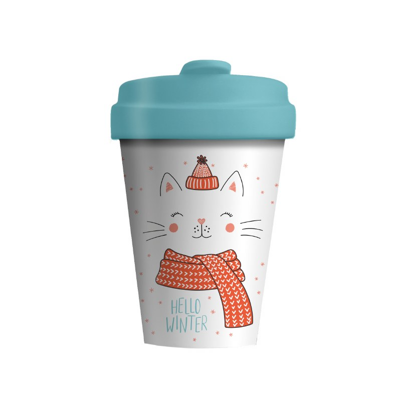 Bamboo Cup Winter Kitty