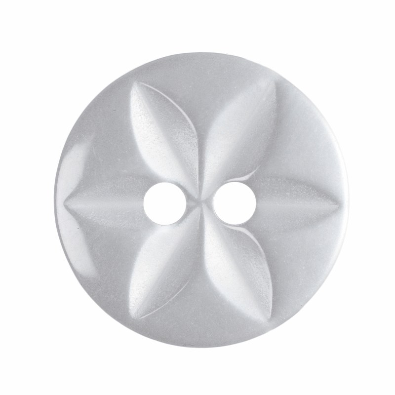 Button Round Star 14mm White