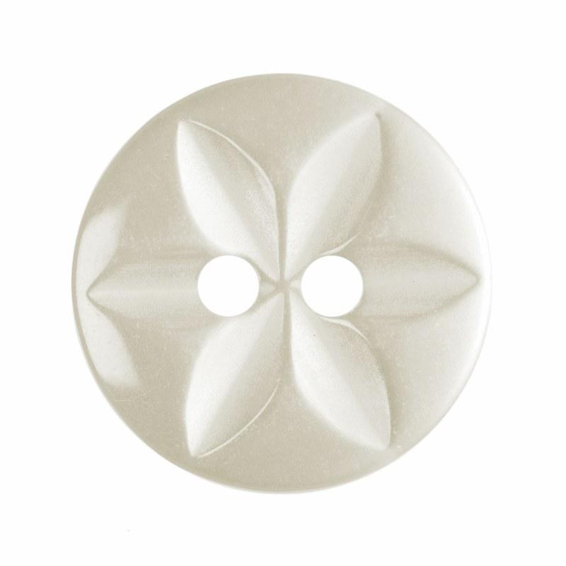Button Round Star 14mm Cream