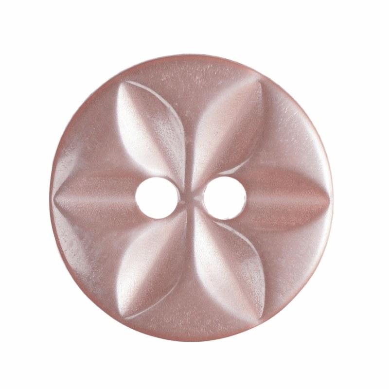 Button Round Star 14mm Pink