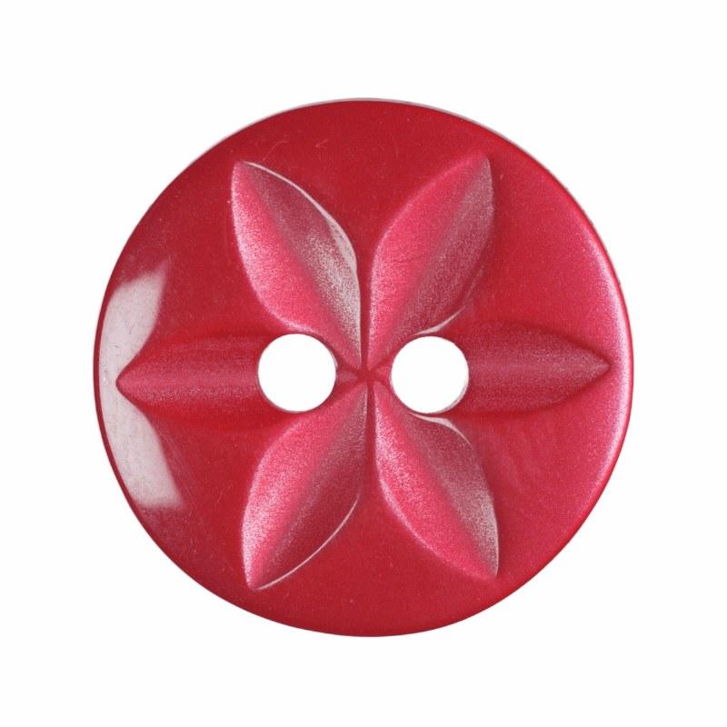 Button Round Star 14mm Red