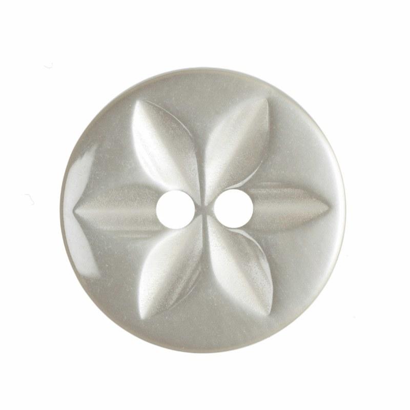 Button Round Star 16mm Cream