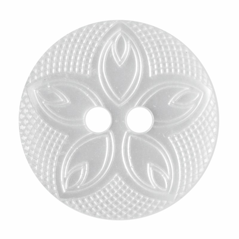 Button Etched Flower 18mm Whit