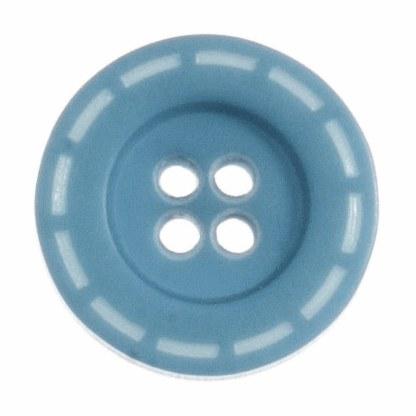 Button Stitched 18mm Aqua Blue