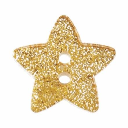 Button Glitter Star 18mm Gold