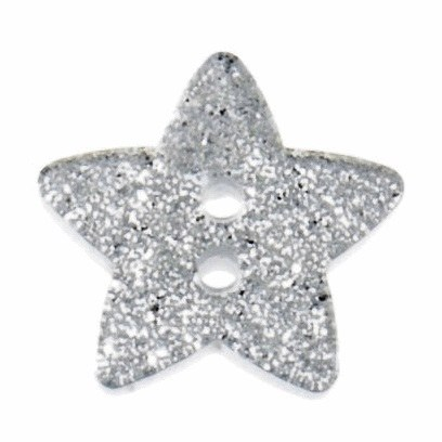 Button Glitter Star 18mm Silve