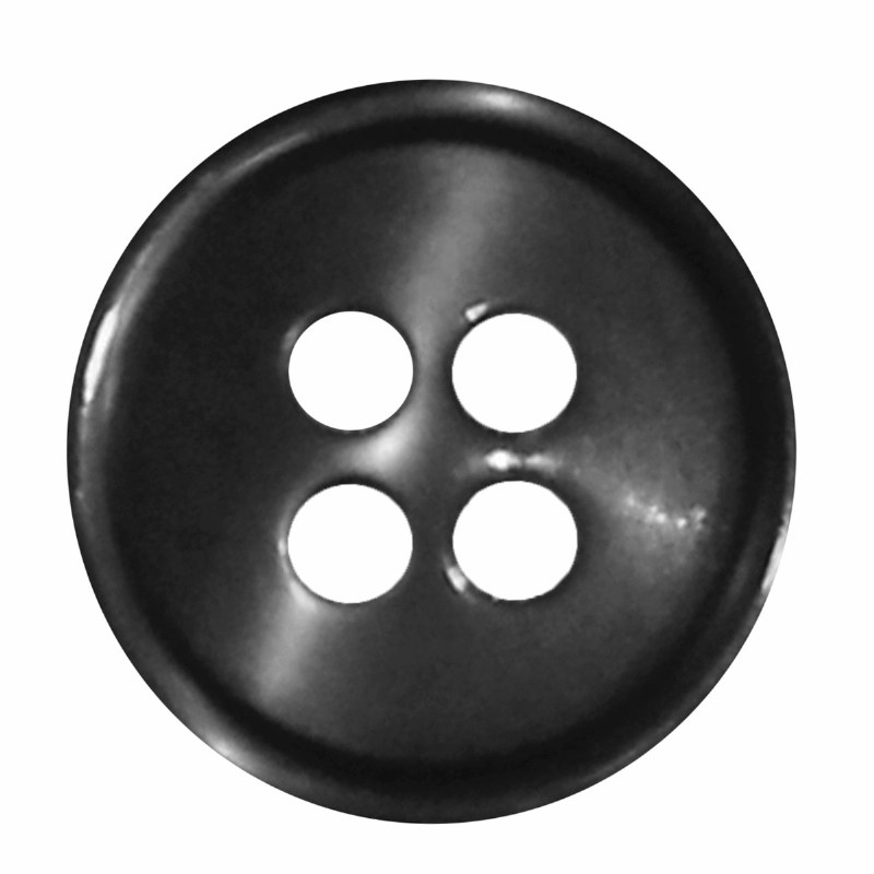 Button 4 Hole 13mm Black