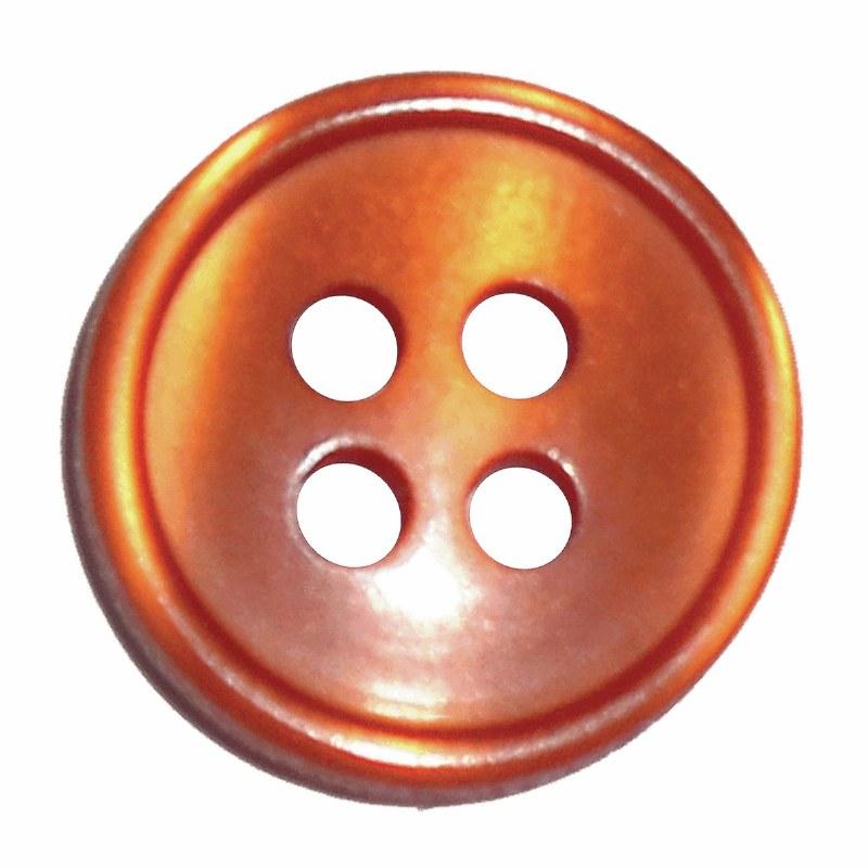Button 4 Hole 13mm Orange