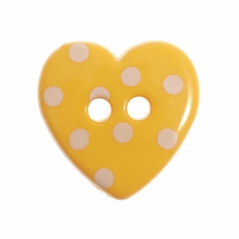 Button Spotty Heart Yellow