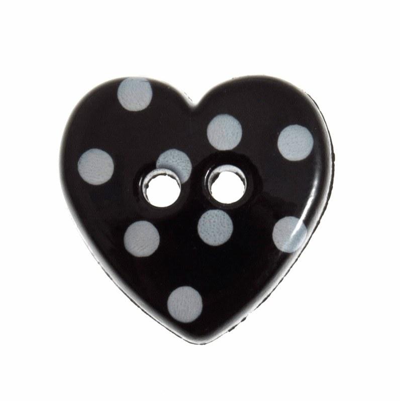 Button Spotty Heart Black