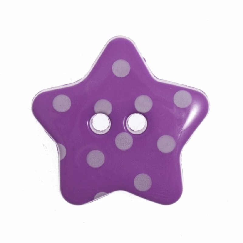 Button Spotty Star 18mm Purple