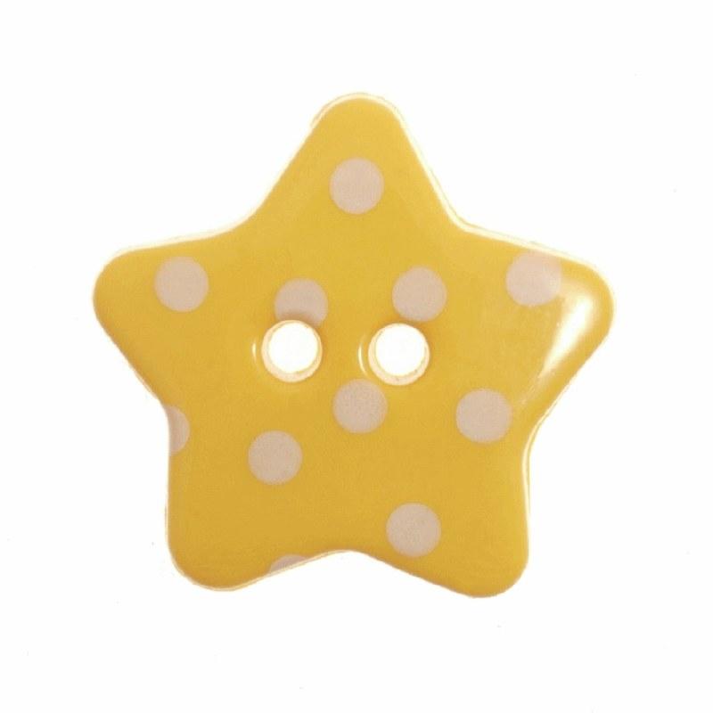Button Spotty Star 18mmYellow