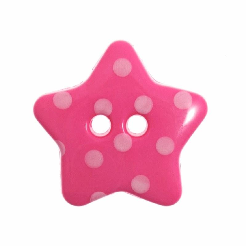 Button Spotty Star 18mm Cerise
