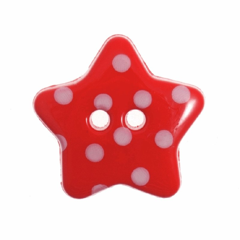 Button Spotty Star 18mm Red