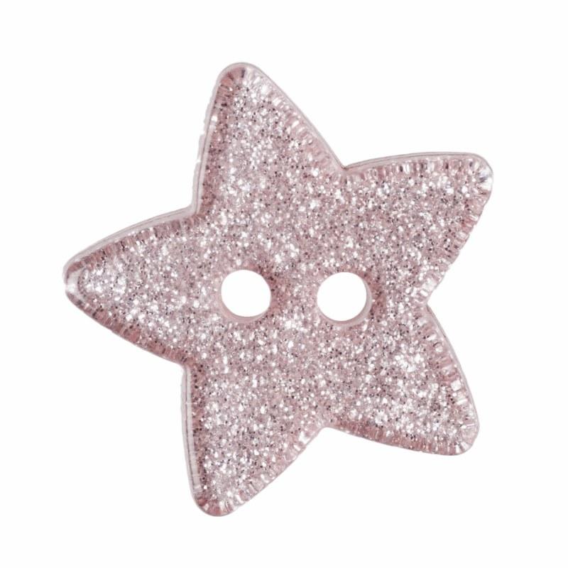 Button Glitter Star 18mm Pink