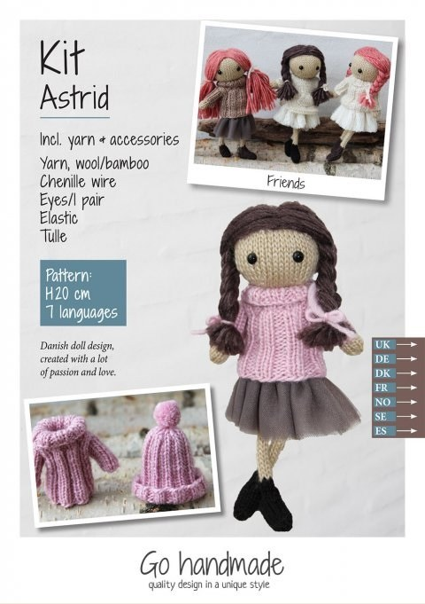 Knitting Kit Astrid Brown/Pink