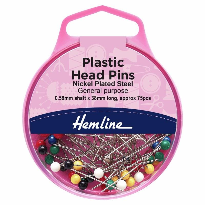 Hemline Plastic Head Long Pins