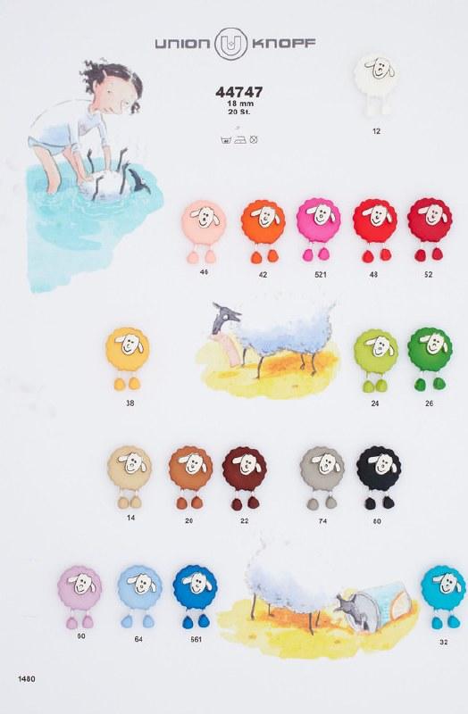 Button Dangly Sheep Blue 64