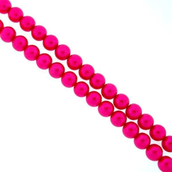 6mm Glass Pearls Fuchsia AB17